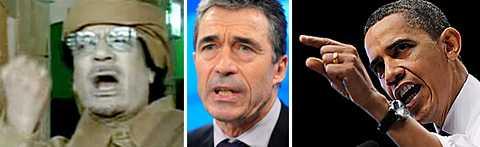 – Vi har de resurser som kan användas i en situation som denna, säger Natos generalsekreterare Anders Fogh Rasmussen (i mitten). Vita Huset säger att USA inte utesluter militärt våld.