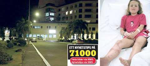 hjärtat stannade Ida Rosenberg, 9, fick en allergisk chock och var nära att dö av den thailändska maneten, men tack vare brandmannen Anders Brunzell fick hon hjälp snabbt. Efter nio timmars medvetslöshet vaknade Ida med svåra brännskador på benet och på delar av kroppen. Nu vårdas hon på sjukhuset i Trat. Foto: HPM-BILD