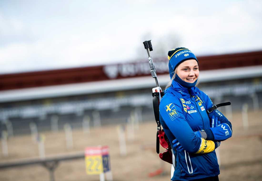 Stina Nilsson vid skyttebanan i Östersund. Arkivbild.