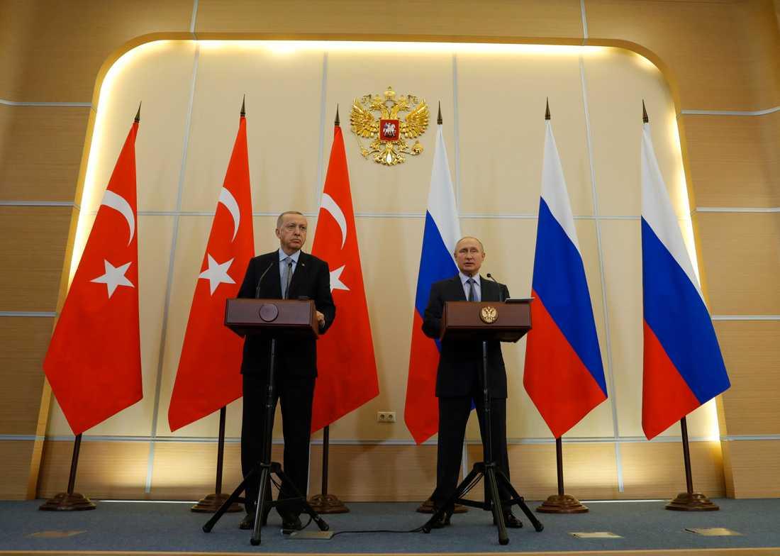 Turkiets president Recep Tayyip Erdogan och Rysslands dito Vladimir Putin möttes i Sotji för att diskutera Syrien.
