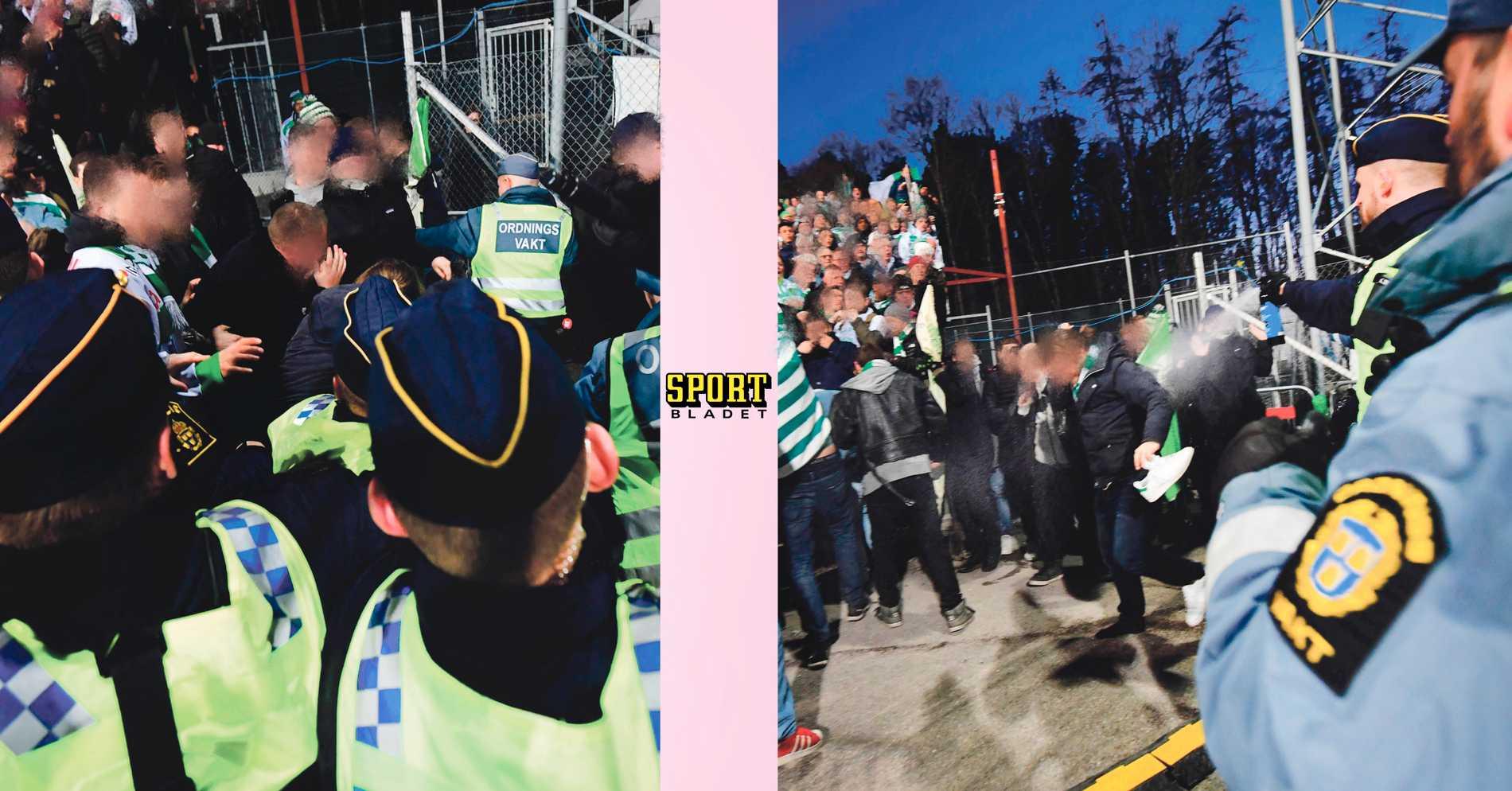 Skandalscener i bandyfinalen - polisen pepparsprejar mot supportrar