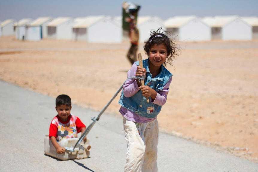 60 procent av invånarna i Azraq-lägret är barn.