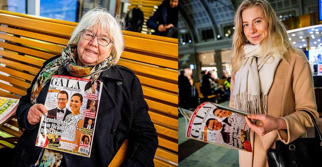 Lisbeth Sundbye, 74, och Frida Brånebäck, 23, läser Gala magazine.