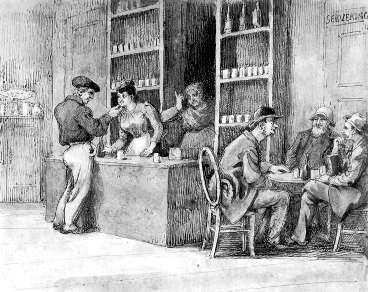 Ett kaffehus på Riddarholmen på 1850-talet. Mannen som kurtiserar den unga kvinnan vinkas in bakom disken. Många kaffehus var egentligen förtäckta bordeller och det fanns ett synsätt att alla kvinnor som jobbade där var prostituerade.