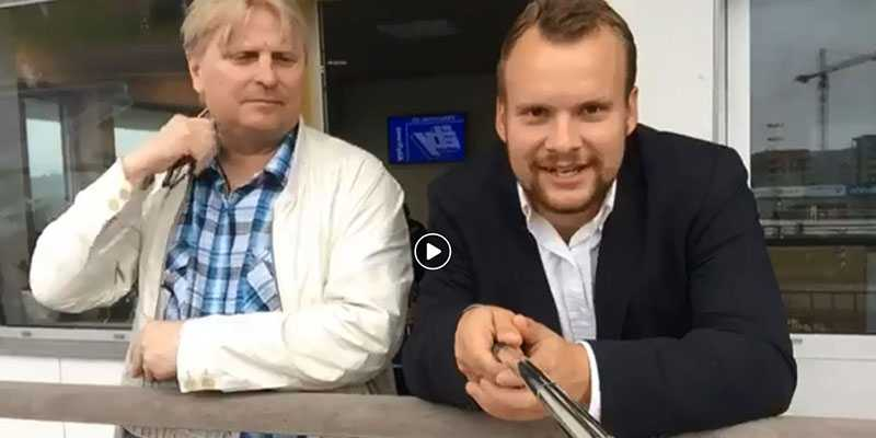 """Kristofer """"Fölet"""" Jakobsson och Åbyproffset Veijo Heiskanen i en av många Facebook Live-sändningar."""