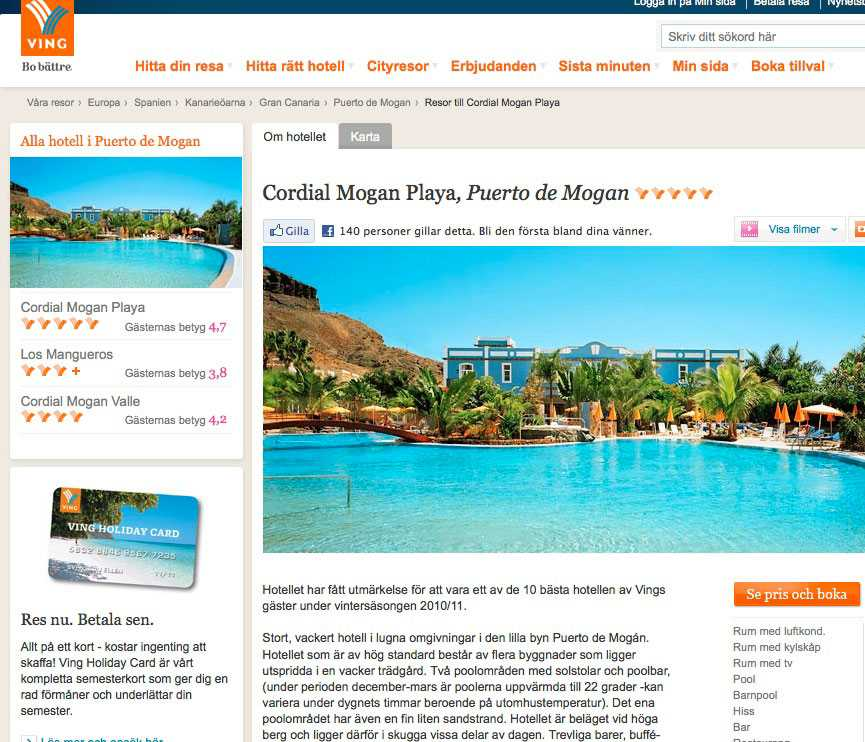 Flera smällar hördes från hotellet Cordial Mogan Playa. Faksimil från Vings hemsida.