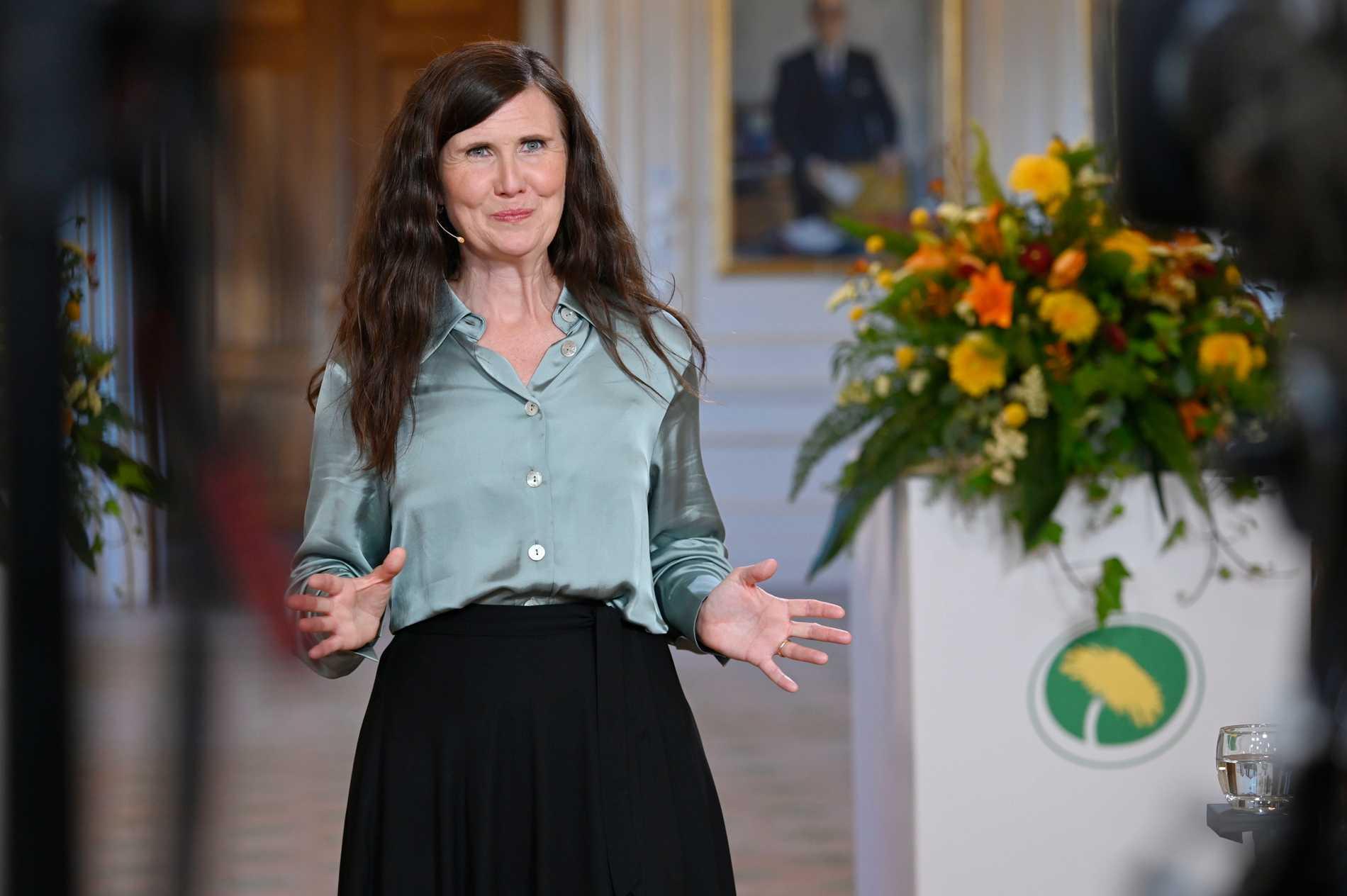Miljöpartiets språkrör Märta Stenevi under sitt tal på Almedalsveckan.