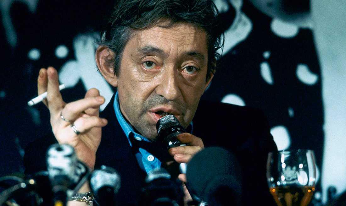 Serge Gainsbourg 1986, vid lanseringen av cigaretten Gitane blonde.