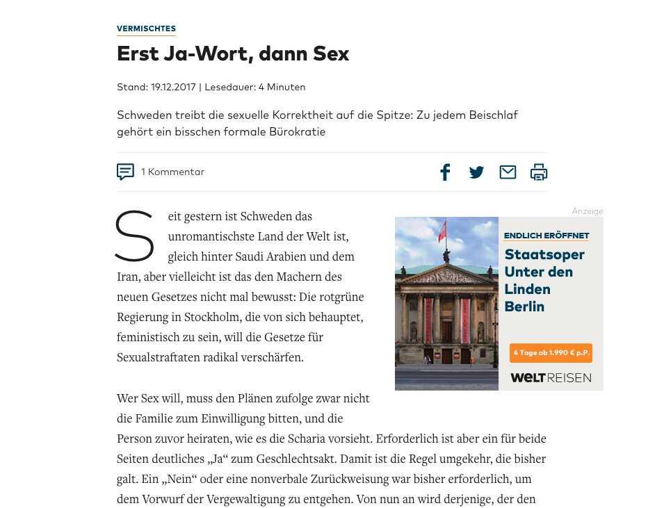 Skärmdump från tidningen Die Welt.