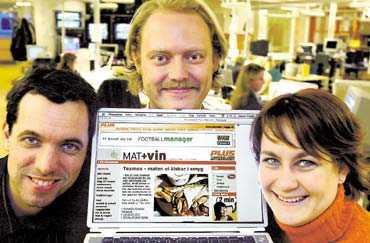 KANONSTART Aftonbladet erbjuder från och med i måndags sju nya sajter och gensvaret har varit över all förväntan. På bilden Göran Fröjdh, Magnus Anderson och Anna Andersson som visar upp startsidan för Aftonbladet.se plus.