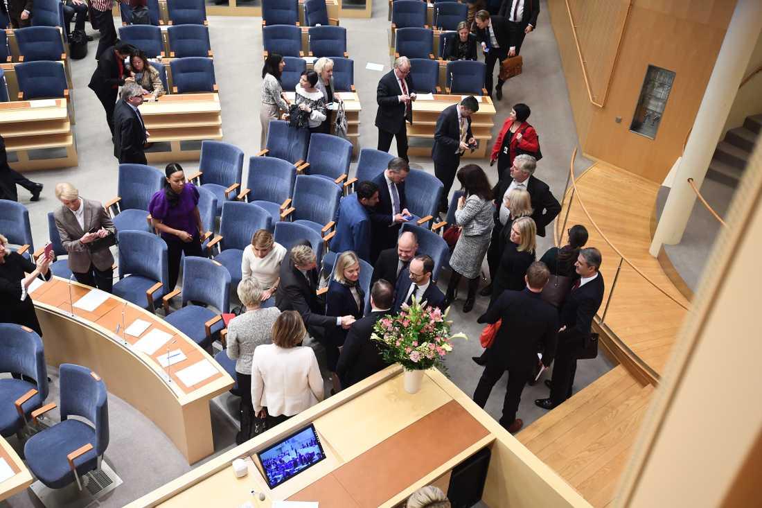 Statsministeromröstning i Riksdagen.