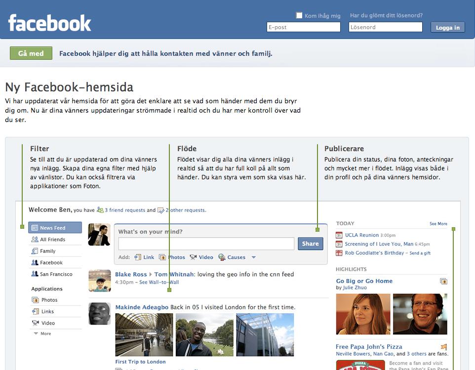 Det sociala nätforumet Facebook har enligt egen uppgift 175 miljoner användare. I kampen mot uppstickaren Twitter gjordes sajtens design nyligen om.