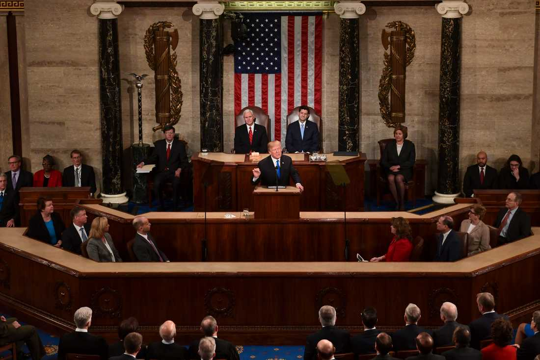 USA:s president Donald Trump vid fjolårets State of the Union-tal.