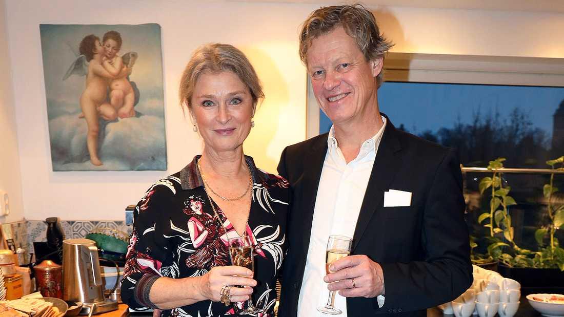 Lena Endre med sin man Martin Wickström.