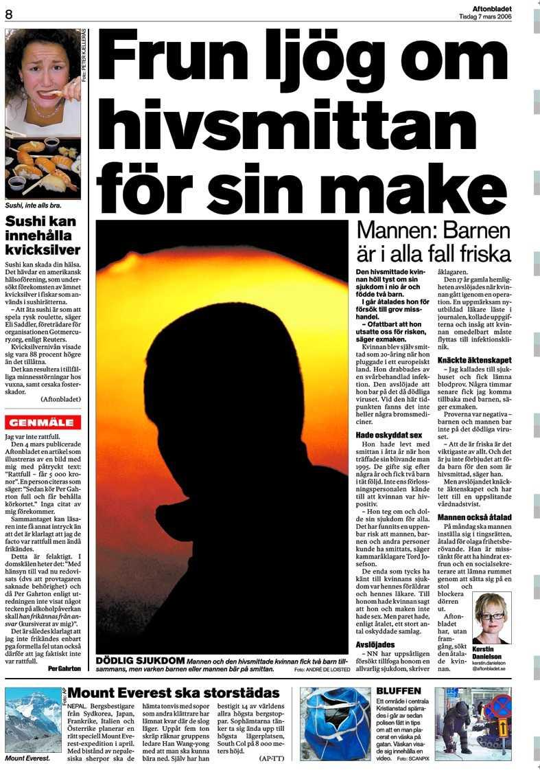 Aftonbladet 7 mars 2006.