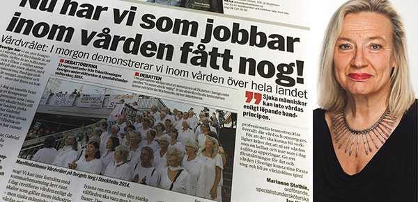 Vänsterpartiet stöttar självklart Vårdupprorets krav. Men för att åter skapa en värdig vård, krävs att vi gemensamt gör upp med marknadstänkandet, skriver Karin Rågsjö (V).