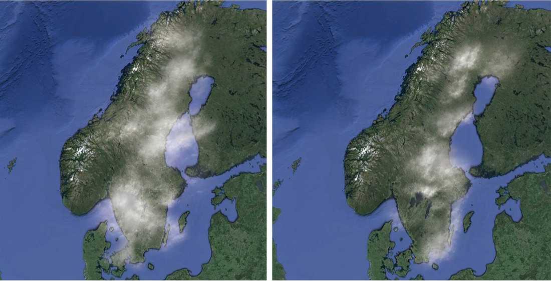 – Från att tidigare ha haft en molnighet på 80-90 procent (vänster) ser det ut att sjunka till 50-60 procent (höger). Framförallt gäller det Stockholm, men det ser ungefär likadant ut i resten av landet, säger Martin Hedberg, meteorolog på Vädercentralen.