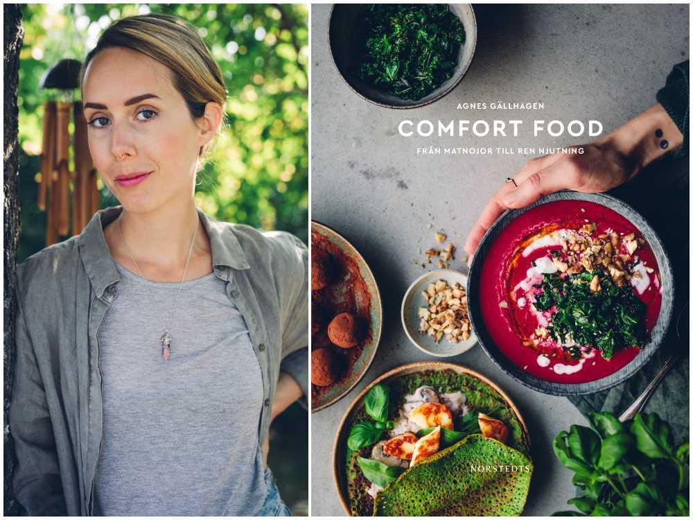 Agnes Gällhagen med sin bok Comfort food.