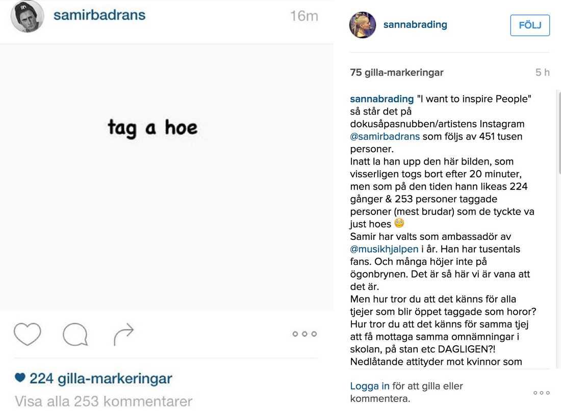 Sanna Bråding lade upp bilden på sin Instagram.