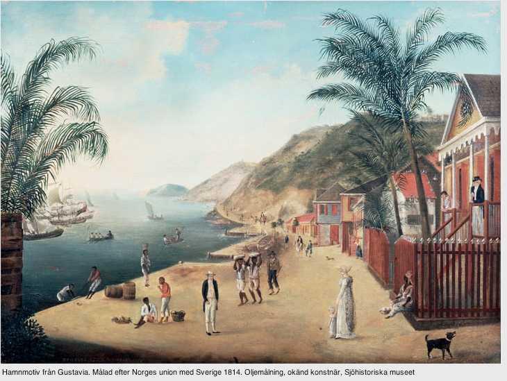 Hamnmotiv från Gustavia, huvudort på Saint-Barthélemy, då ön styrdes från Sverige. Ön blev en knutpunkt för den svenska slavhandeln, skriver debattören.