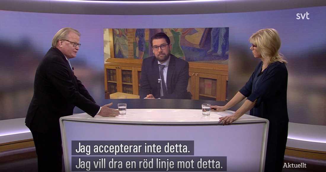 """""""Jag vet fortfarande inte om Hultqvist gjorde bort sig, men hans tre minuter i tv-studion var i alla fall något slags wakeup-call i en tid när allt fler börjar resignera inför SD"""", skriver Åsa Linderborg."""