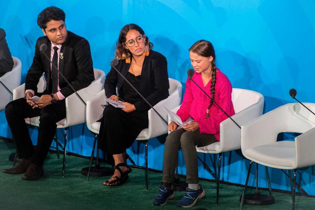 Greta Thunberg under talet på FN:s klimatmöte.
