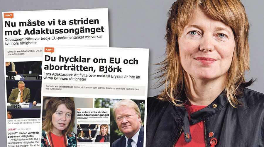 """I sakfrågan, hur vi ska bekämpa alla de som nu tar plats i EU-parlamentet och som vill inskränka kvinnors rättigheter och förminska våra liv, säger Adaktusson inte ett enda ord. Detta är det mest talande av allt i hans """"svar"""", skriver Malin Björk."""