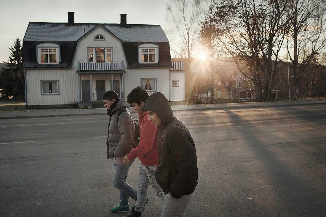 120 flyktingar i byn Skoldagen är slut och tre killar från Afghanistan går hemåt längs huvudgatan mot flyktingförläggningen i Hassela. I den lilla Norrlandsorten fick Sverigedemokraterna nästan 22 procent av kommunrösterna i förra valet. Foto: Stefan Bladh