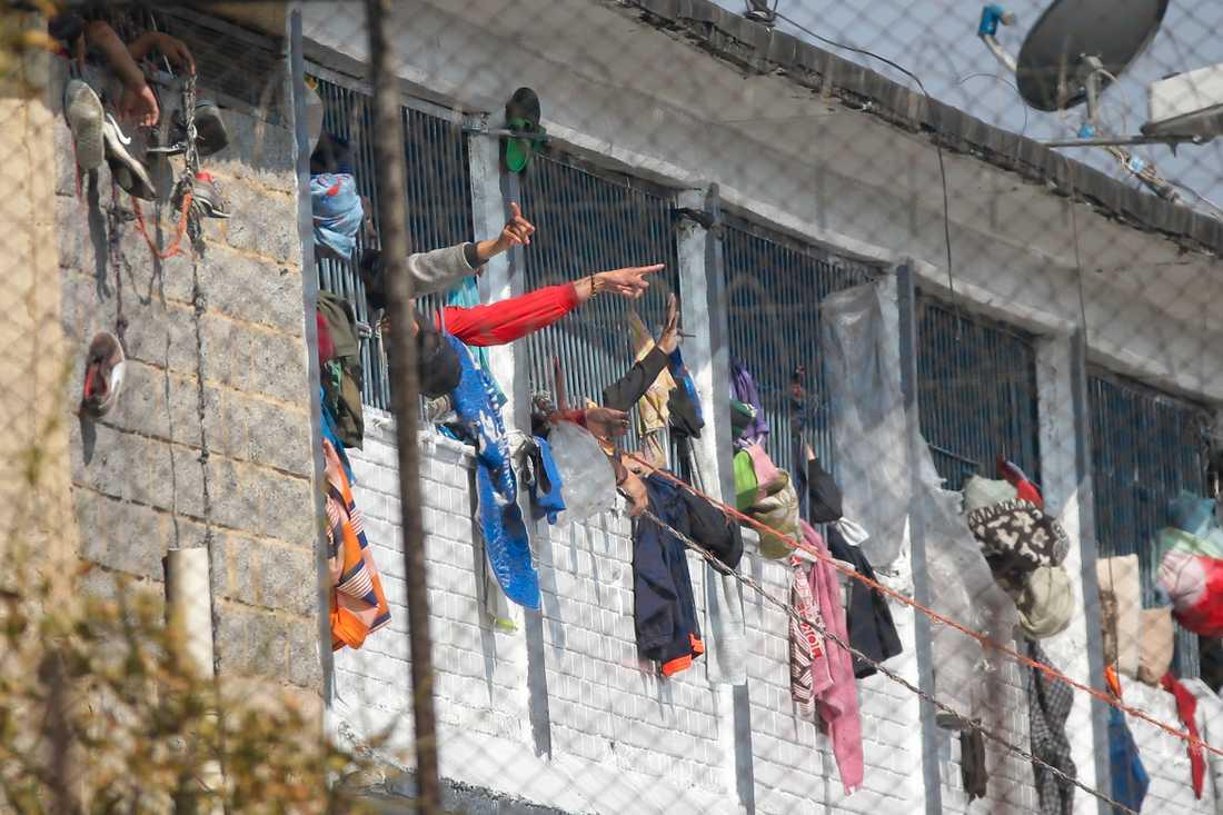 Intagna på Bogotafängelset La Modelo, där över 20 på söndagen miste livet i ett upplopp, sträcker ut händerna genom gallren.