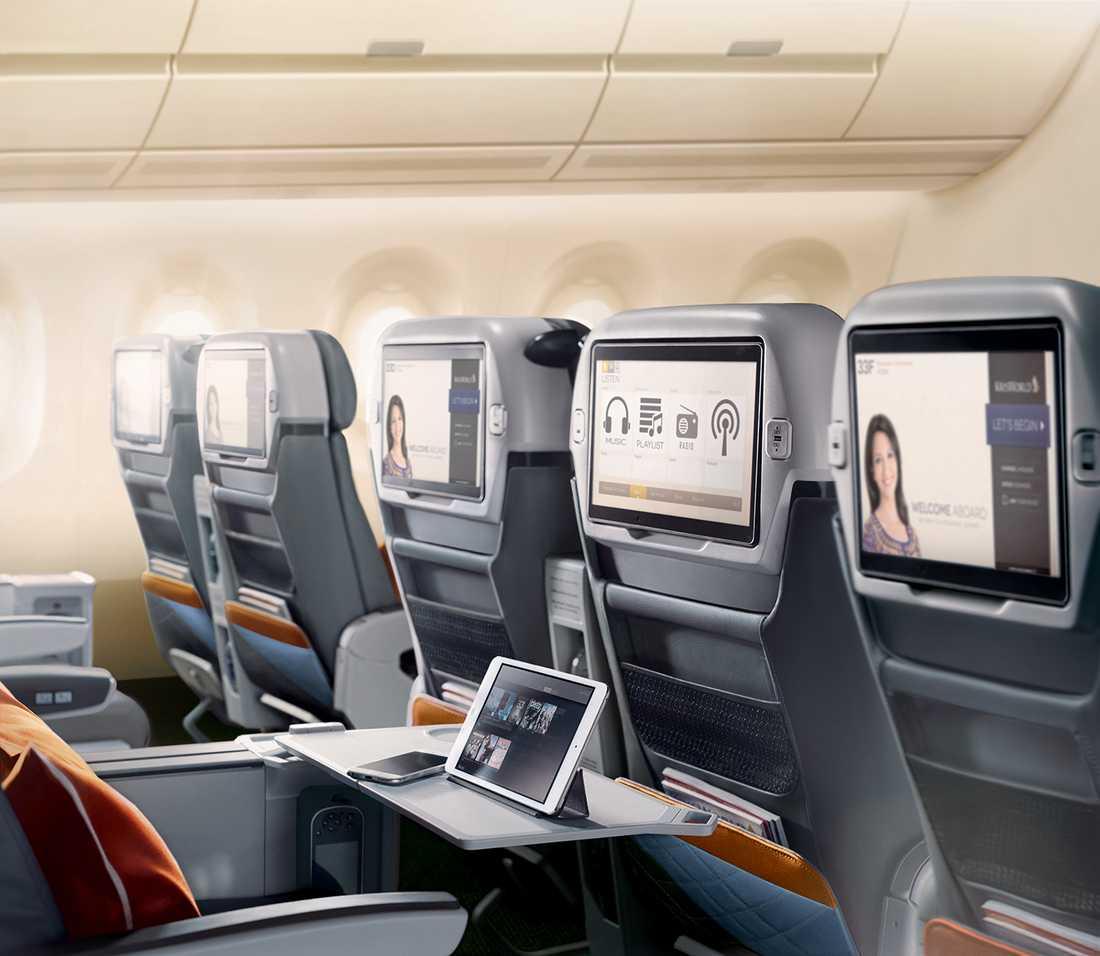 I premium economy har varje passagerare en egen 13,3 tumsskärm att bestämma över.