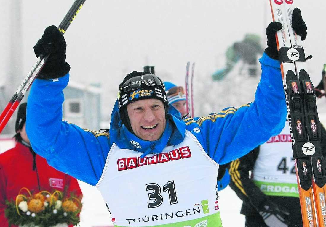 På pallen Carl Johan Bergman kom trea i gårdagens sprintlopp i Oberhof.