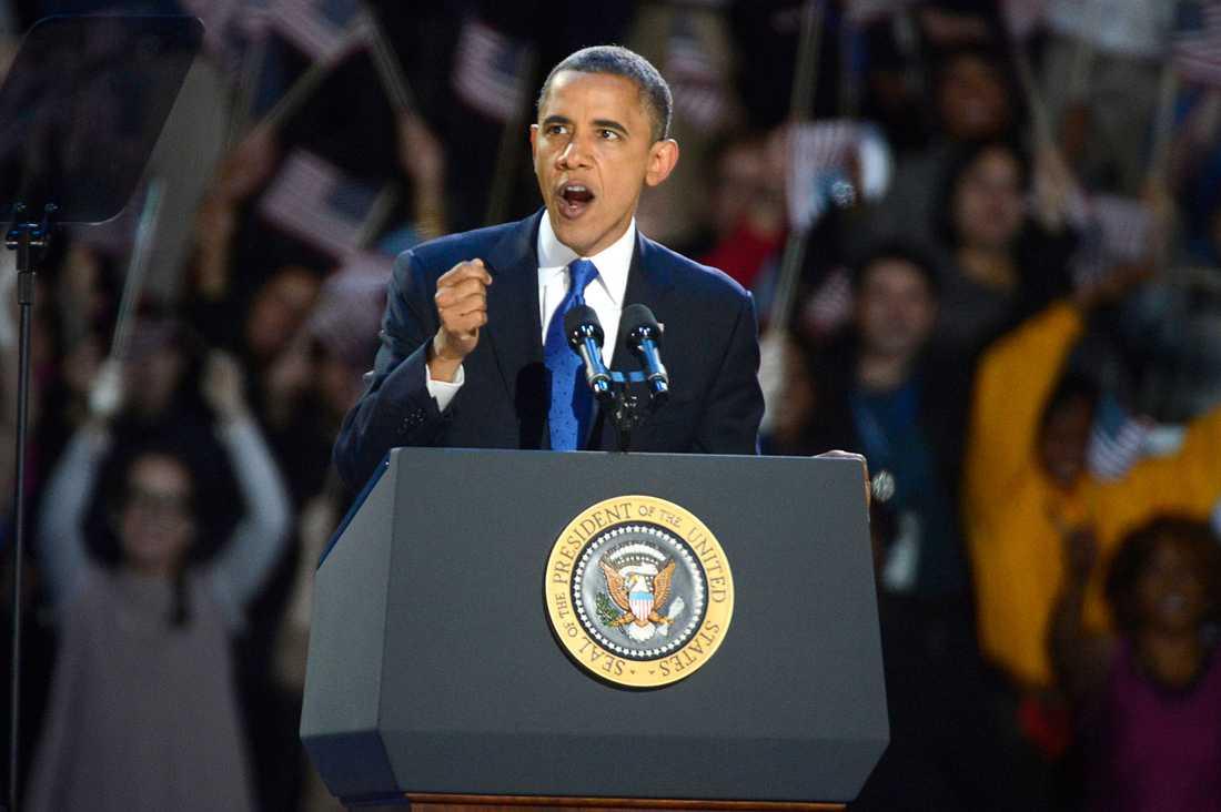 Barack Obama under segertalet efter valvinsten.