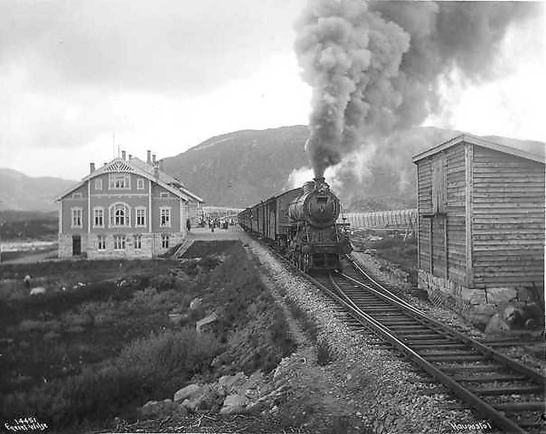 Bergensbanen vid Haugastøl station 1912.