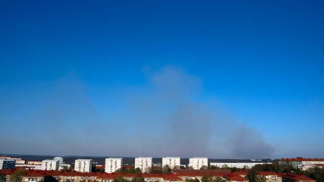 Skogsbranden vid Landvetter.