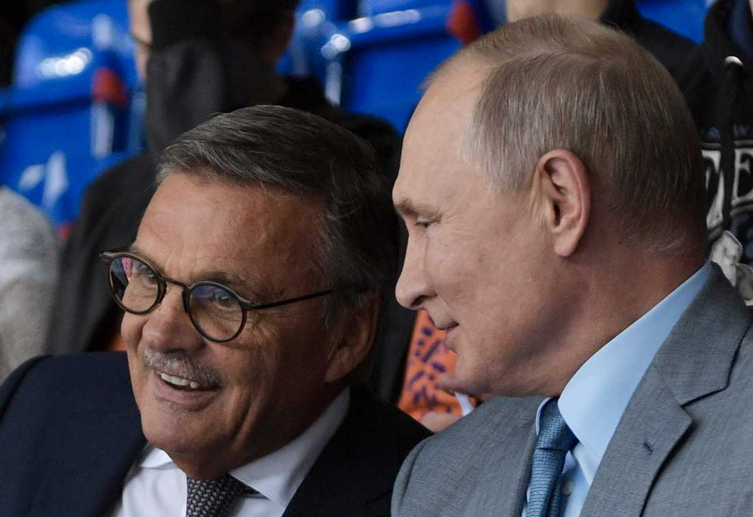 René Fasel tillsammans med Rysslands president Vladimir Putin.