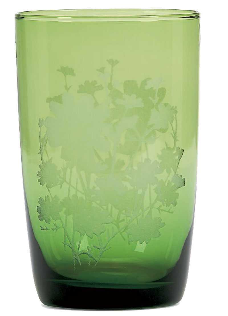Drick vackert ur dricksglas i grönt med etsningar på, Mio 49 kr.