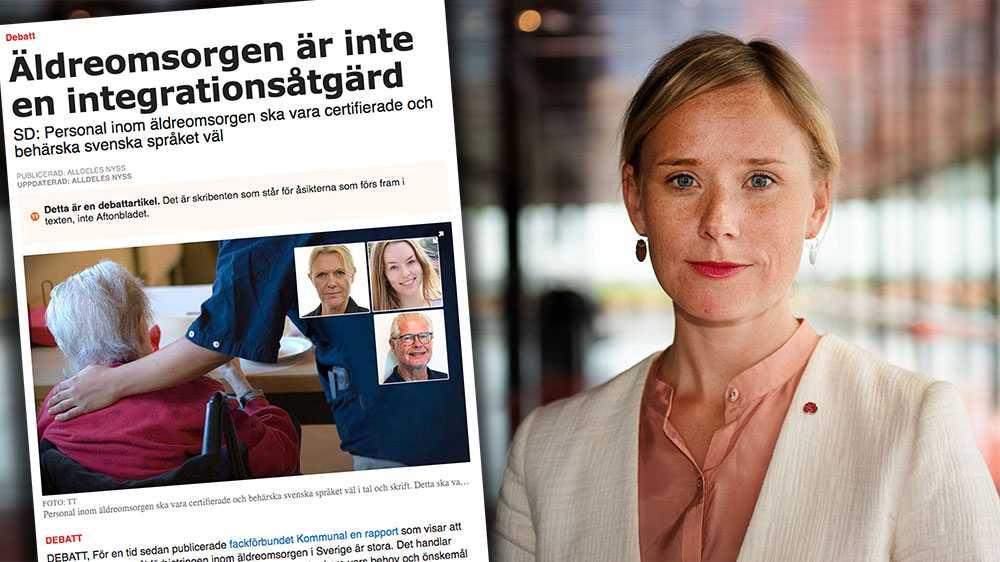 Problemet är inte, som SD antyder, att invandrare arbetar inom äldreomsorgen, utan att de inte får tillräckligt bra svenskundervisning, skriver Caroline Hoffstedt, kommunalråd och äldrenämndens ordförande i Uppsala kommun (S).