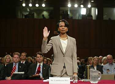 President Bush säkerhetspolitiska rådgivare, Condoleezza Rice, förhördes i flera timmar av kommissionen som utreder händelserna den 11 september 2001.
