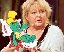 """Originalet och kopian Kikki Danielsson pratar fetma i Bert Karlssons talkshow """"Bert""""."""