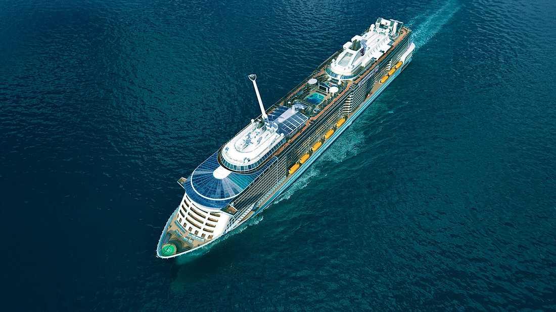 QUANTUM OF THE SEAS Royal Caribbean står för största nybygget 2013. Quantum of the Seas är på 167000 bruttoton och tar 4180 gäster. Premiär i höst. 2015 kommer systerfartyget Anthem of the Seas.