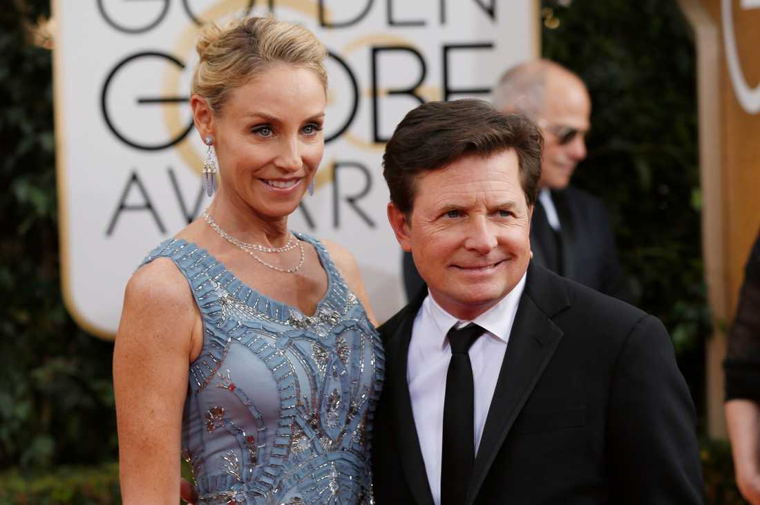 Michael J. Fox tillsammans med sin fru Tracy Pollan på Golden Globe Awards 2014.