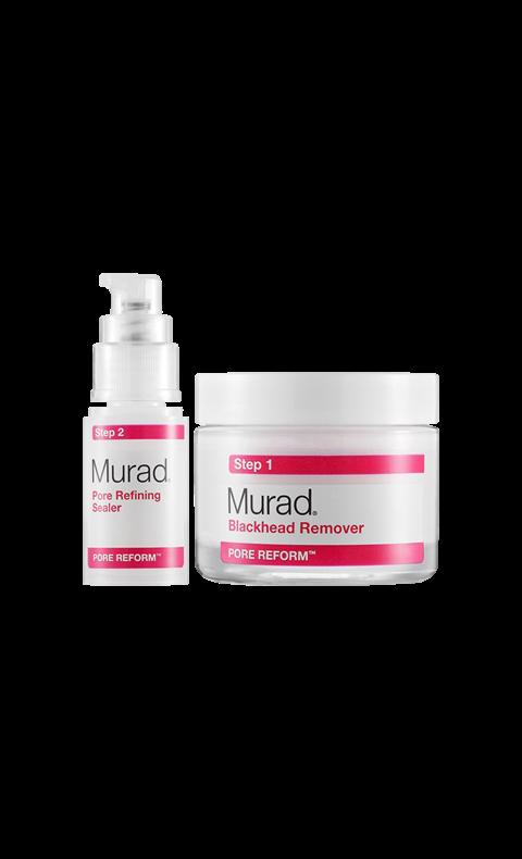 """""""Blackhead & pore clearing duo"""", Murad Tvåstegs-behandling med exfolierande lermask och serum som motverkar nybildandet av pormaskar. Så effektiv att du undgår frestelsen att klämma."""