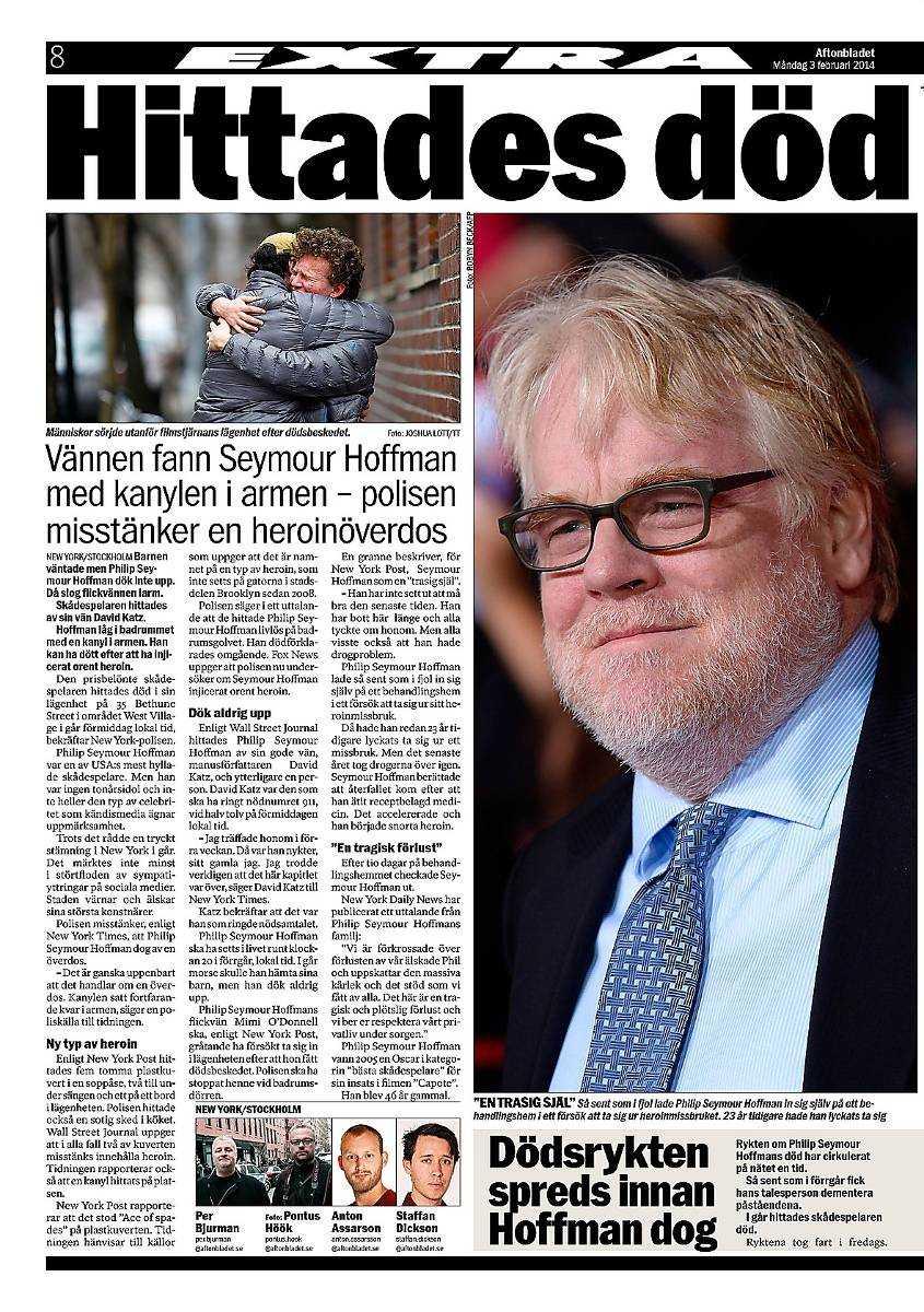 Aftonbladet i går om Philip Seymour Hoffmans död.