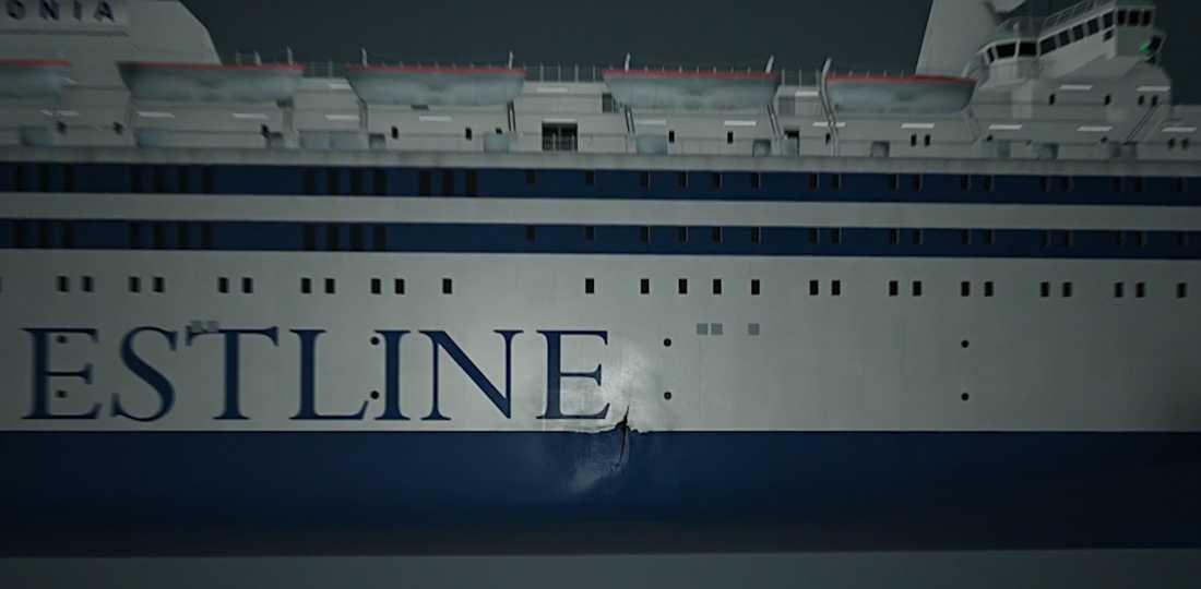 Skadan är belägen en tredjedel akteröver på Estonias styrbordssida och sträcker sig både över och under vattenlinjen. Här åskådliggjord i en grafik.