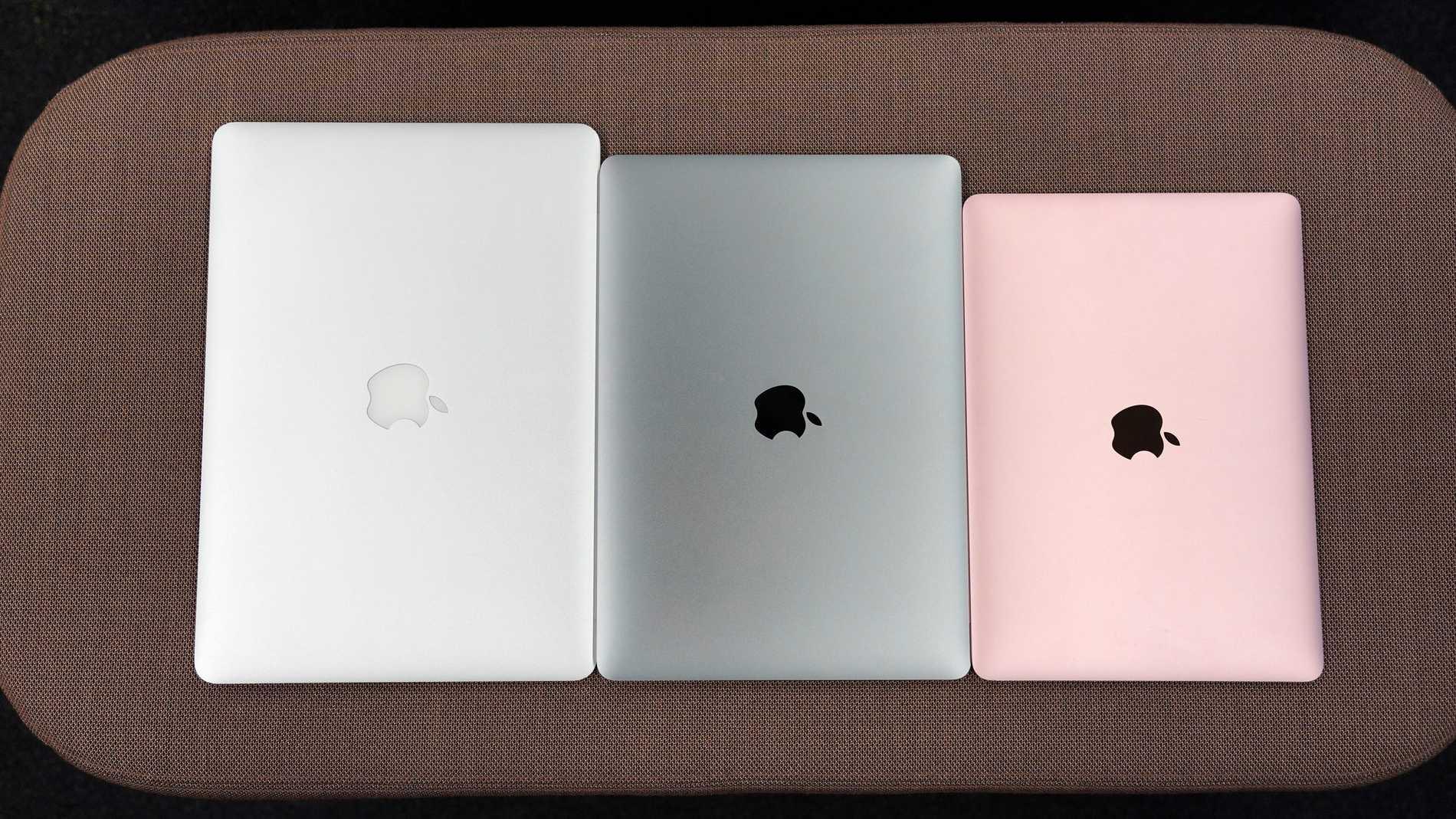 Gamla Macbook Air 13, nya Macbook Air 13 och Macbook 12.