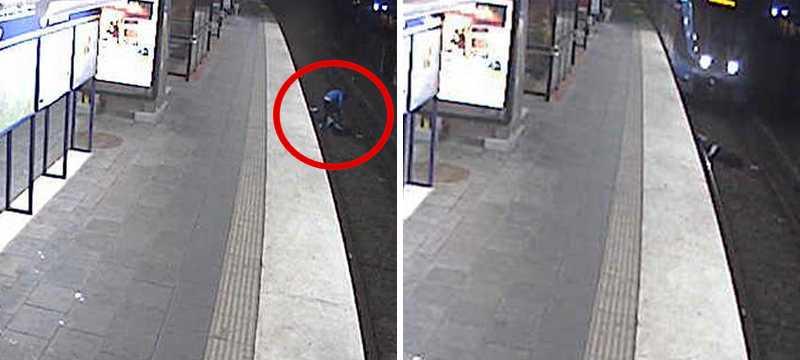 Bilder från övervakningskamera som visar hur rånaren lämnar Johnny, 38, på tunnelbanespåren.