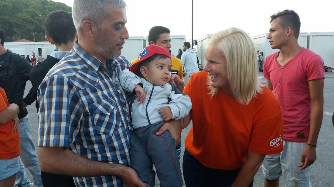 Tre gånger har Maria Westin varit på den grekiska ön Samos och tagot emot flyktingar. Foto: PRIVAT