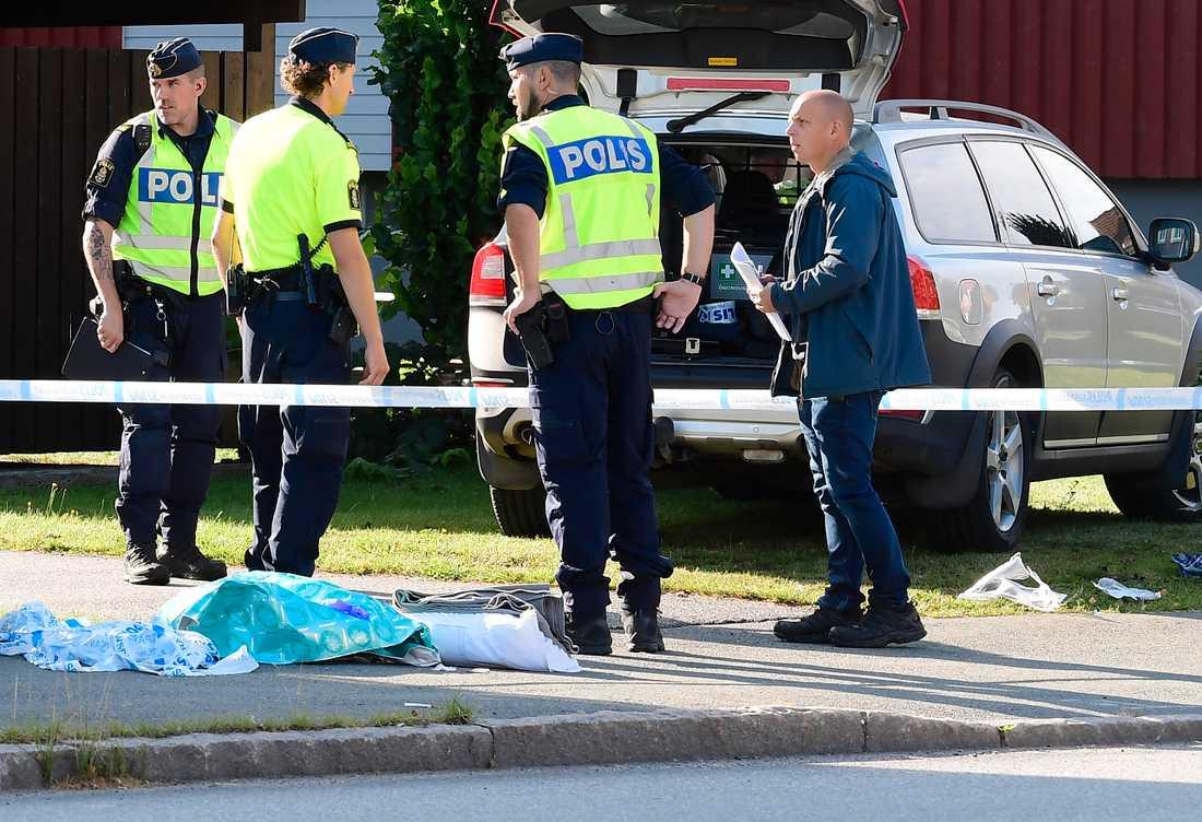 Polis på plats i Eksjö.