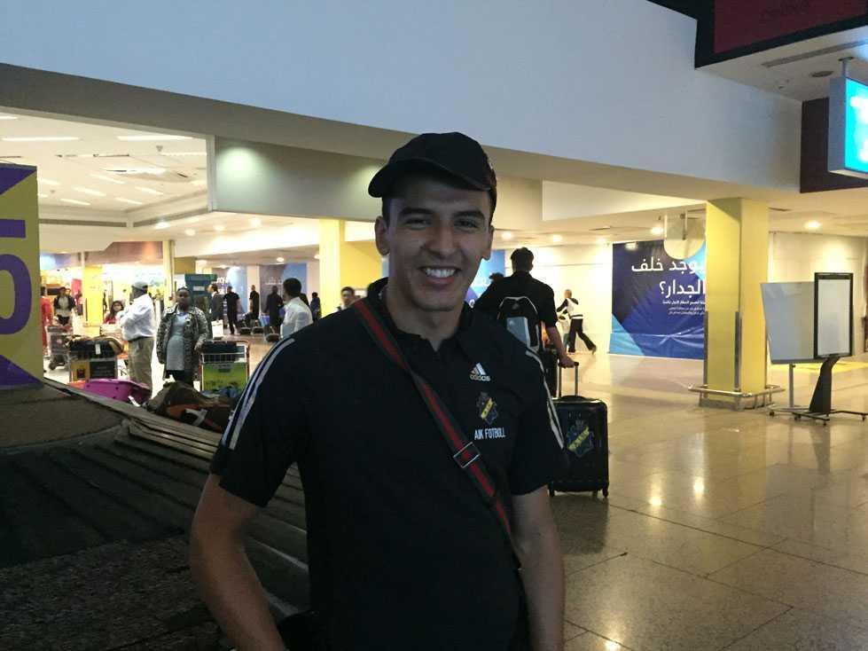 Nabil Bahoui på flygplatsen i Dubai.