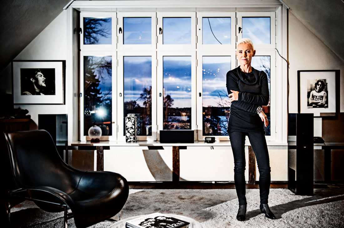 Marie Fredriksson blev 61 år. Här är hon hemma i sin studio i Djursholm 2013.